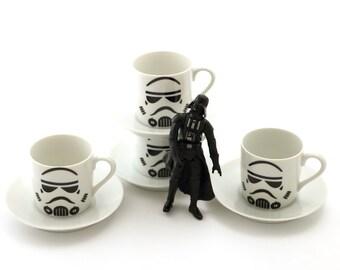 Espresso cup set,  star wars storm trooper espresso cups ,  set of four, porcelain espresso cups and saucers , gift for him