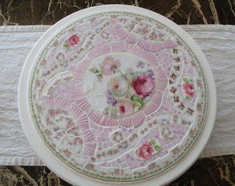 Lovely mosaic vintage lazy susan decorated with vintage broken and mismatched china and stained glass, pink, roses