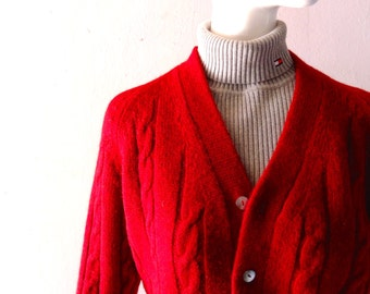 Vintage 1960s Cordovan Winter Wool Cable Knit Cardigan - Gimbels New York Label - size 18 Boys Womens SM Medium - Retro Prep - Made in Italy