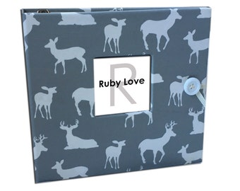 BABY BOOK | Gray Woodlands Silhouette Album | Ruby Love Baby Memory Book
