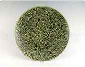 Etched Porcelain Plate With Calligraphic Design