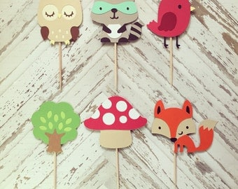 1 Dozen Woodland Creatures Cupcake Picks