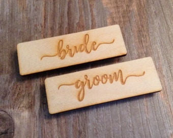 Bride and Groom Wedding Name Tags, Rustic Birch Wood Engraved Name Tags, Rustic Wedding Signs