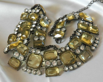 Retro Trifari Link Necklace, Citrine & Crystal Glass Stones, Egyptian Collar Style, Open Setting, Hematite Plating, Like New