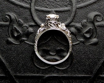 Art Deco Engagement Ring. Diamond White Gold Hand Cut Filigree. 18k.