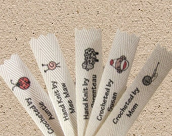 U Pick 2  (or 3). Personalized knitting and crochet labels