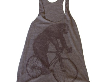 Sloth on a Bicycle - Womens Tank top, Ladies Tank top, Tri Blend Tank, Handmade graphic tee, sizes s-xL