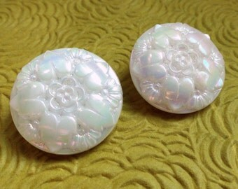 Iridescent Glass Vintage Buttons - 2 Aurora Borealis Flower Antique 1940s 7/8 inch 23mm for Jewelry Beads Sewing Knitting