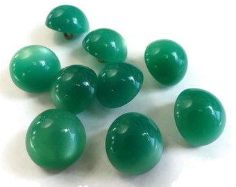 Spearmint Lucite Vintage Buttons - 9 Moonglow Metal Shank