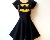 Batman Dress // Batgirl Superhero Cosplay Dress // Rockabilly Pin Up Girl Dress // Womens Superhero Halloween Costume