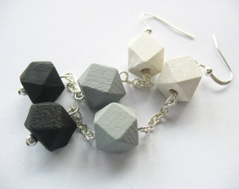 Wooden Cube Earrings, Dangles, Monochromatic, Trio, Black Gray White, Geometric Cubes, Silver Chain, Hand Painted