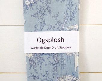 Toile Draft Stopper - Blue Door Snake - Nursery Decor - Child's Stopper.  49.
