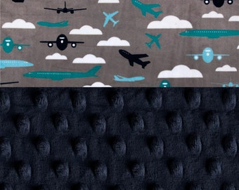 Minky Baby Blanket Boy, Personalized Gray Airplanes Navy BlueTeal