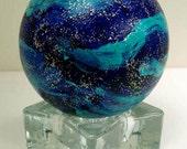 Night Sky Wish Ball, Original Hand Painted Wishing Ball Art, Globe, Stars, Blue by Marina Petro
