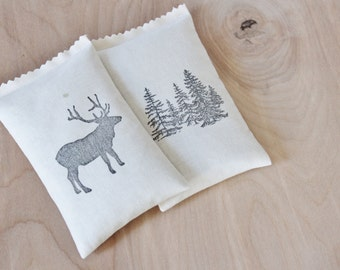 2 Balsam Sachets for Drawers - Fir Trees & Elk - Woodland Decor - Winter Wedding Bridesmaid Gift