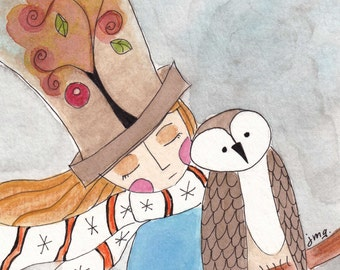 Owl winter magic girl blonde top hat watercolor giclee print