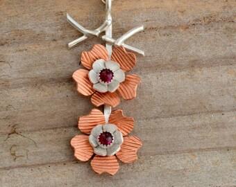 Cherry blossom sakura flower necklace pendant sterling silver tree branch necklace pink ruby gemstone, handmade artisan jewelry boho jewelry