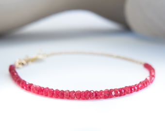 Solid Gold Genuine Gemstone Beaded Ombre Bracelet with 18k Gold Chain and Ruby Red Spinel Stacking Bracelet Stone Gems Gem Red Semi Precious