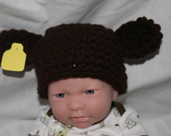 Cow steer hat for newborn baby - very cute and unique handmade animal hat - Newborn photo prop