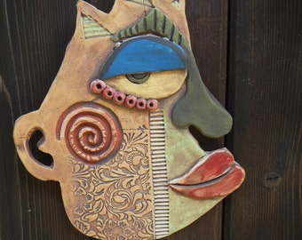 Sneaky Abstract Wall Mask-Picasso inspired ceramic mask
