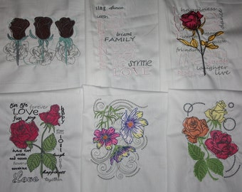 Love Sayings Machine Embroidered Quilt Blocks Set B