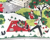 Vintage Kitchen Towel Family Picnic Outdoor Setting Red Green Gray