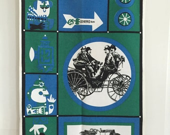 Vintage Tea Towel STEAMPUNK Old Fashioned Cars Cartoon Characters