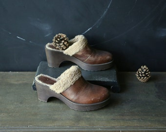 Bohemium Clogs or Mules With Faux Lambs Skin Cuff Size 9 Vintage From Nowvintage on Etsy