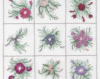 Nine Flower Sampler #2 Brazilian embroidery kit #1822 - EdMar threads/choose color