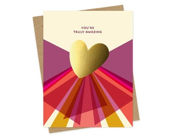 gold heart amazing - foil stamped card - congrats card - congratulations card - graduation card - encouragement card - folded card - oc1531
