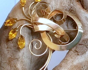 Vintage 1/20 12K GF Brooch with Yellow Colored Stones