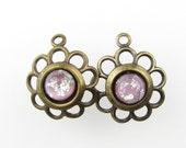 Vintage Filigree Flower Charm Pink Opal Glass Antiqued Brass Drop uvf0187 (2)