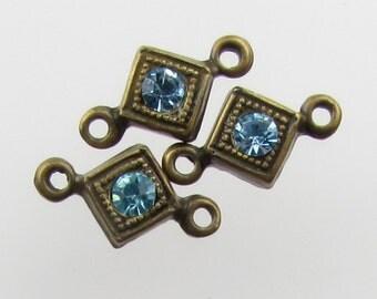 Vintage Bead Drop Aqua Swarovski Crystal Aquamarine Rhinestone Connector Link Antiqued Brass Charm uvf0813 (3)
