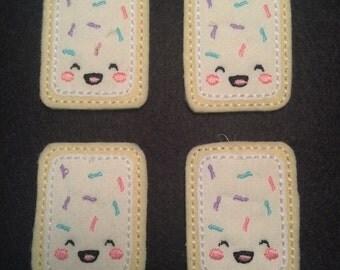 Toaster Tart Sprinkles Frosting White Pink Swirl Felt Applique