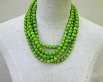 Chunky Bright Lime Green Layered Multi Strand Beaded Necklace