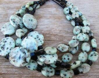 Kiwi Jasper Chunky Beaded Multi Strand Necklace, Pale Green Black Celadon