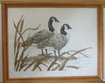 Stunning completed & framed behind glass - geese / nature cross stitch needlepoint - ready to hang