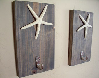 Starfish hooks on wood (2), beach themed coat rack, bathroom towel hooks, housewarming gift, rustic wood boards