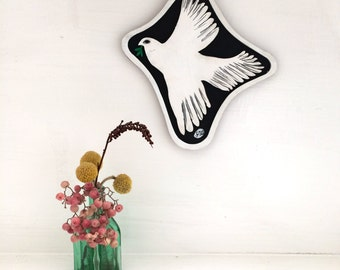 Laser cut and handpainted wooden dove wall art painting