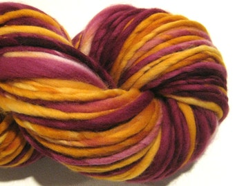 Super Bulky Handspun Yarn, Gryffindor 110 yards, hand dyed merino wool, Harry Pottery, gold, burgundy, knitting supplies, crochet supplies