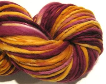 Super Bulky Handspun Yarn, Gryffindor 120 yards, hand dyed merino wool, Harry Pottery, gold, burgundy, knitting supplies, crochet supplies
