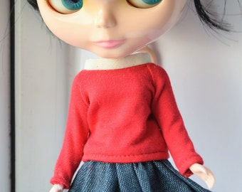 Fun little red jersey long sleeve t shirt for Blythe doll