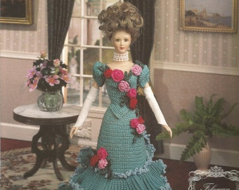 Dinner Gown, February 1994, Fashion Doll Dress, Crochet Pattern, Annies Calendar Bed Doll Society, London England, Pattern, Victorian Lady