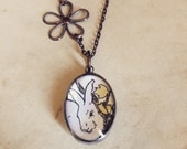 Spring Easter Rabbit, 1930 Illustration, Bubble Soldered Glass Pendant, Long Necklace