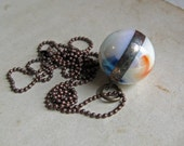 Iridescent White Orange Blue Glass Shooter Marble  Long Necklace