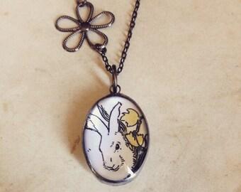 Spring Easter Rabbit, 1930 Illustration, Bubble Soldered Glass Pendant, Long Necklace