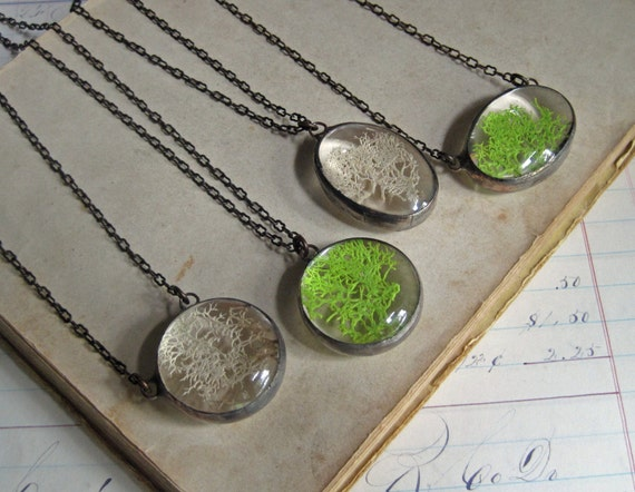 Woodsy Moss Necklace Stained Glass Nature Jewelry Natural Pendant