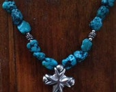 Large Signed Turquoise Nugget and Sterling Silver Cross Necklace