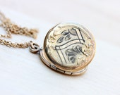 Gold Filled Round Engraved Locket Necklace