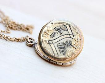 Gold Filled Round Engraved Locket Necklace